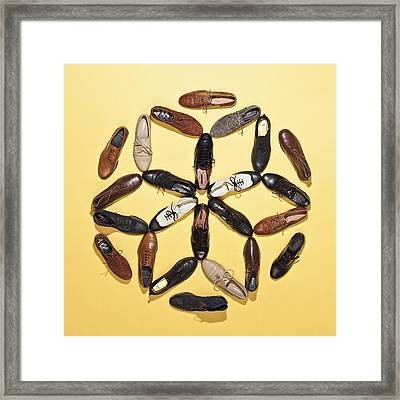 Various Lace Up Shoes Arranged In A Pattern Framed Print by Larry Washburn