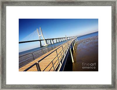 Vasco Da Gama Bridge Framed Print by Carlos Caetano
