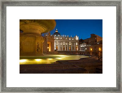 Vatican At Blue Hour Framed Print by Stavros Argyropoulos