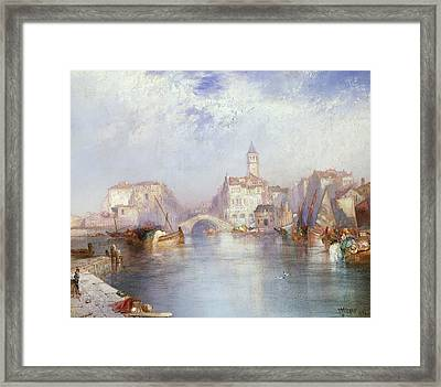 Venetian Canal Framed Print by Thomas Moran