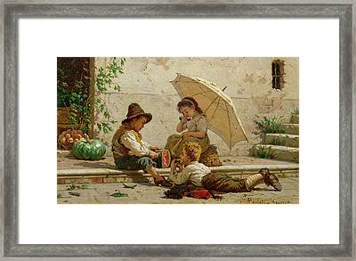 Venetian Children Framed Print by Antonio Paoletti