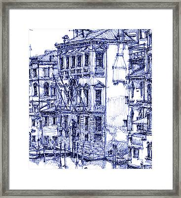 Venice Detail In Blue Framed Print by Building  Art