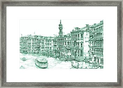 Venice Drawing In Green Framed Print by Building  Art