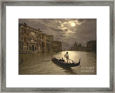 Venice Grand Canal By Moonlight Framed Print by Padre Art