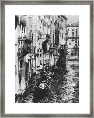 Venice In Black And White Framed Print by Nancy Slater