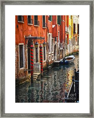 Venice Italy - Quiet Canal Framed Print by Gregory Dyer