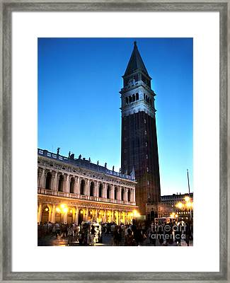 Venice Italy - Saint Marks Campanile At Night Framed Print by Gregory Dyer