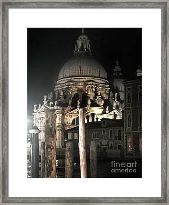 Venice Italy - Santa Maria Della  Salute At Night Framed Print by Gregory Dyer