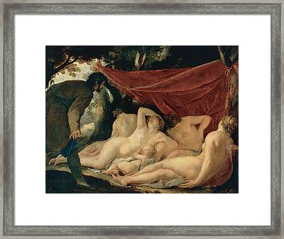 Venus And The Graces Surprised By A Mortal Framed Print by Jacques Blanchard