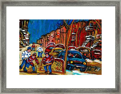 Verdun Rowhouses With Hockey - Paintings Of Verdun Montreal Street Scenes In Winter Framed Print by Carole Spandau
