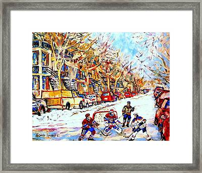 Verdun Street Hockey Game Goalie Makes The Save Classic Montreal Winter Scene Framed Print by Carole Spandau