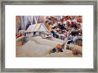 Vermont Sugar Shack Cabin In Winter Framed Print by Carole Spandau