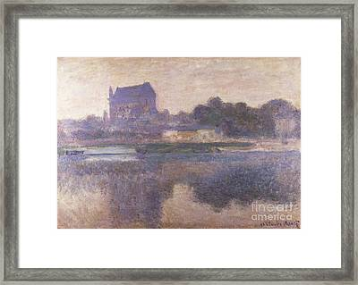 Vernon Church In Fog Framed Print by Claude Monet