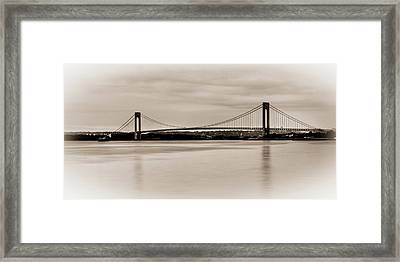 Verrazano-narrows Bridge B-w Framed Print by David Hahn