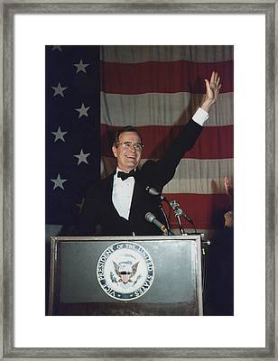 Vice President Bush Addresses The Young Framed Print by Everett
