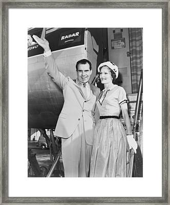 Vice President Richard Nixon, With Wife Framed Print by Everett