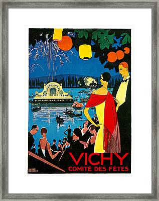 Vichy Comite Des Fetes Framed Print by Roger Broders