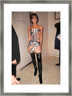 Victoria Beckham Wearing A Giles Dress Framed Print by Everett