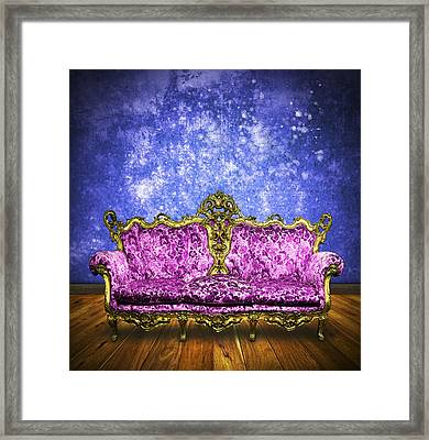 Victorian Sofa In Retro Room Framed Print by Setsiri Silapasuwanchai