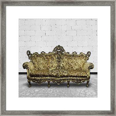 Victorian Sofa In White Room Framed Print by Setsiri Silapasuwanchai