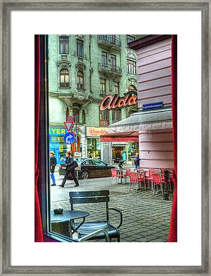 Vienna View From Coffee Shop Window Framed Print by Juli Scalzi