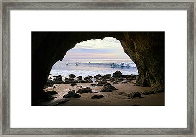 View From The Beach Cave Framed Print by Ron Regalado
