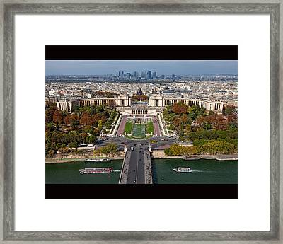 View From The Second  Floor Of Eiffel Tower Framed Print by Anna A. Krømcke