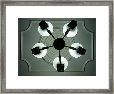 View Of 5 Bulb Chandelier Against A Decorated Ceiling From Underneath Framed Print by Ashish Agarwal