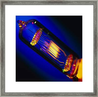 View Of A Lit Technical Electric Light Bulb Framed Print by Tek Image