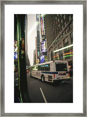 View Of A New York City Bus Framed Print by Gina Martin