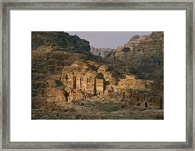 View Of A Number Of Nabataean Tombs Framed Print by Annie Griffiths