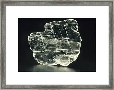 View Of A Sample Of Selenite, A Form Of Gypsum Framed Print by Kaj R. Svensson