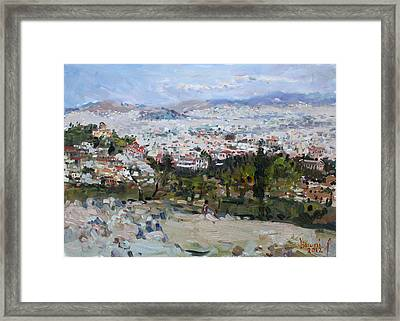 View Of Athens From Acropolis Framed Print by Ylli Haruni