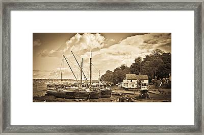 View Of Pin Mill From King's Yard Sepia Framed Print by Gary Eason