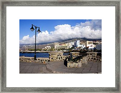 View Of Puerto De La Cruz From Plaza De Europa Framed Print by Fabrizio Troiani