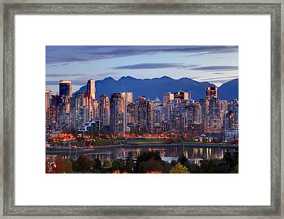 View Of Skyline With Yaletown, False Framed Print by Ron Watts