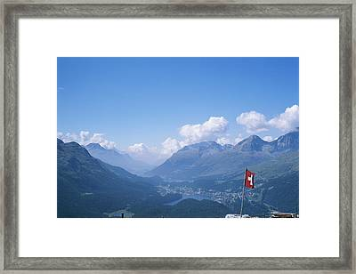 View Of The Engadin Valley And St Framed Print by Taylor S. Kennedy