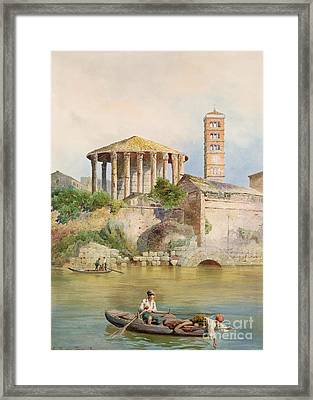 View Of The Sbocco Della Cloaca Massima Rome Framed Print by Ettore Roesler Franz