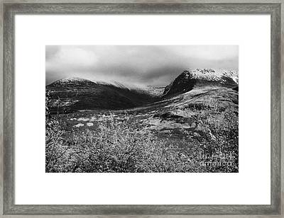 View Of The Summit Of Ben Nevis Snow Capped And Shrouded In Mist In Spring Near Fort William Scotlan Framed Print by Joe Fox