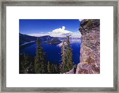 View Of Wizard Island At Crater Lake Framed Print by Natural Selection Craig Tuttle