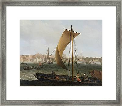 View On The Thames With Westminster Bridge Framed Print by Samuel Scott