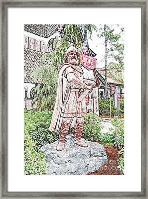 Viking Statue Norway Pavilion Epcot Walt Disney World Prints Colored Pencil Framed Print by Shawn O'Brien
