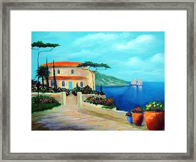 Villa Of Amalfi Framed Print by Larry Cirigliano