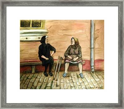 Village Gossip Framed Print by Linda Nielsen