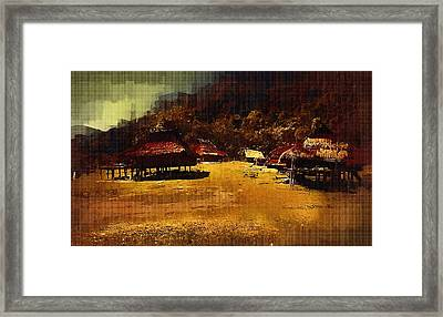 Village In Northern Burma Framed Print by Fran Woods
