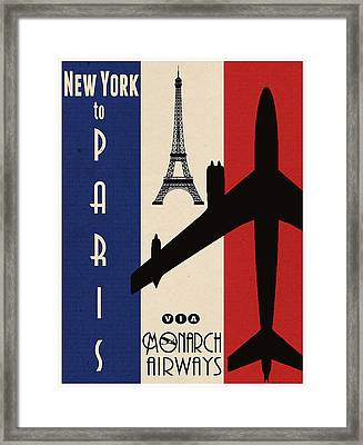 Vintage Air Travel Paris Framed Print by Cinema Photography