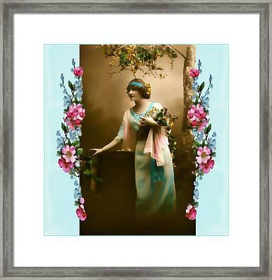 Vintage Aqua Framed Print by Mary Morawska