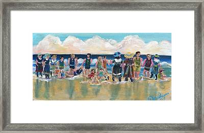 Vintage Bathers Framed Print by Doralynn Lowe