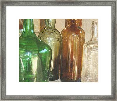 Vintage Bottles Framed Print by Georgia Fowler