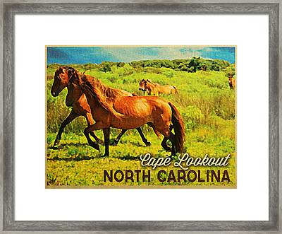 Vintage Cape Lookout North Carolina Framed Print by Flo Karp